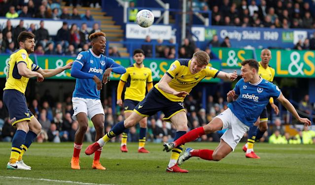 "Soccer Football - League One - Portsmouth vs Oxford United - Fratton Park, Portsmouth, Britain - March 25, 2018 Portsmouth's Kal Naismith heads at goal Action Images/Peter Cziborra EDITORIAL USE ONLY. No use with unauthorized audio, video, data, fixture lists, club/league logos or ""live"" services. Online in-match use limited to 75 images, no video emulation. No use in betting, games or single club/league/player publications. Please contact your account representative for further details."