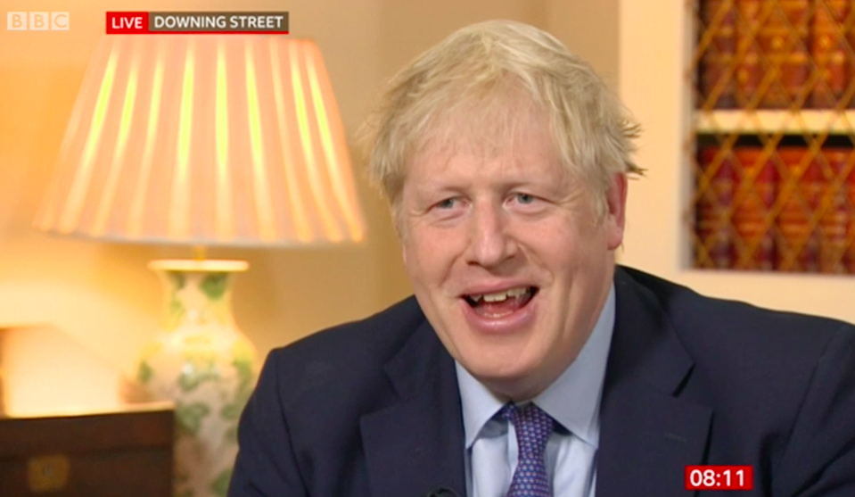 Boris Johnson told BBC Breakfast viewers of plans to have Big Ben ringing for Brexit (Picture: BBC/PA)