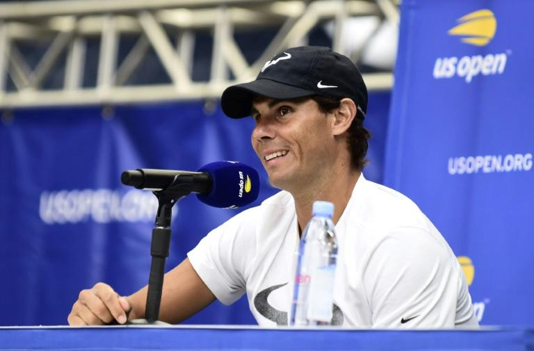 World number two Rafael Nadal is all smiles during media day for the 2019 US Open tennis championships