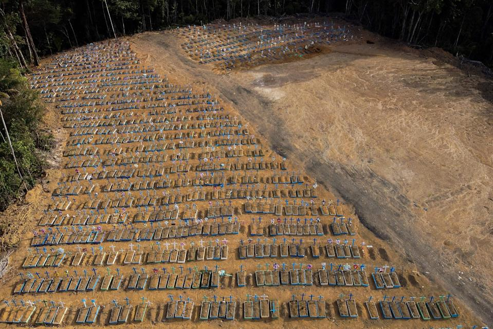 Pictured are the the mass graves.