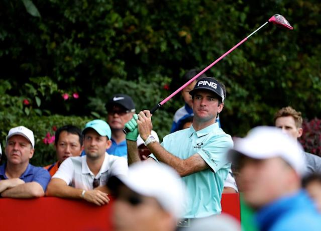 Bubba Watson of the US watches his shot at the Shenzhen International tournament in Shenzhen, in China's southern Guangdong province on April 20, 2017 (AFP Photo/)