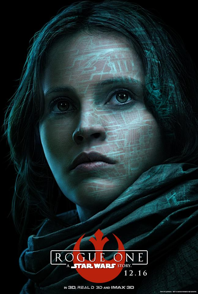 <p>The woman central to 'Rogue One,' her father helped engineer the Death Star and now it's up to her to lead a motley crew of rebels on a mission that will help the Alliance defeat the Empire's ultimate weapon. (Disney/Lucasfilm) </p>