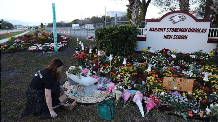 A memorial on the one-year anniversary of the shooting in Parkland, Florida