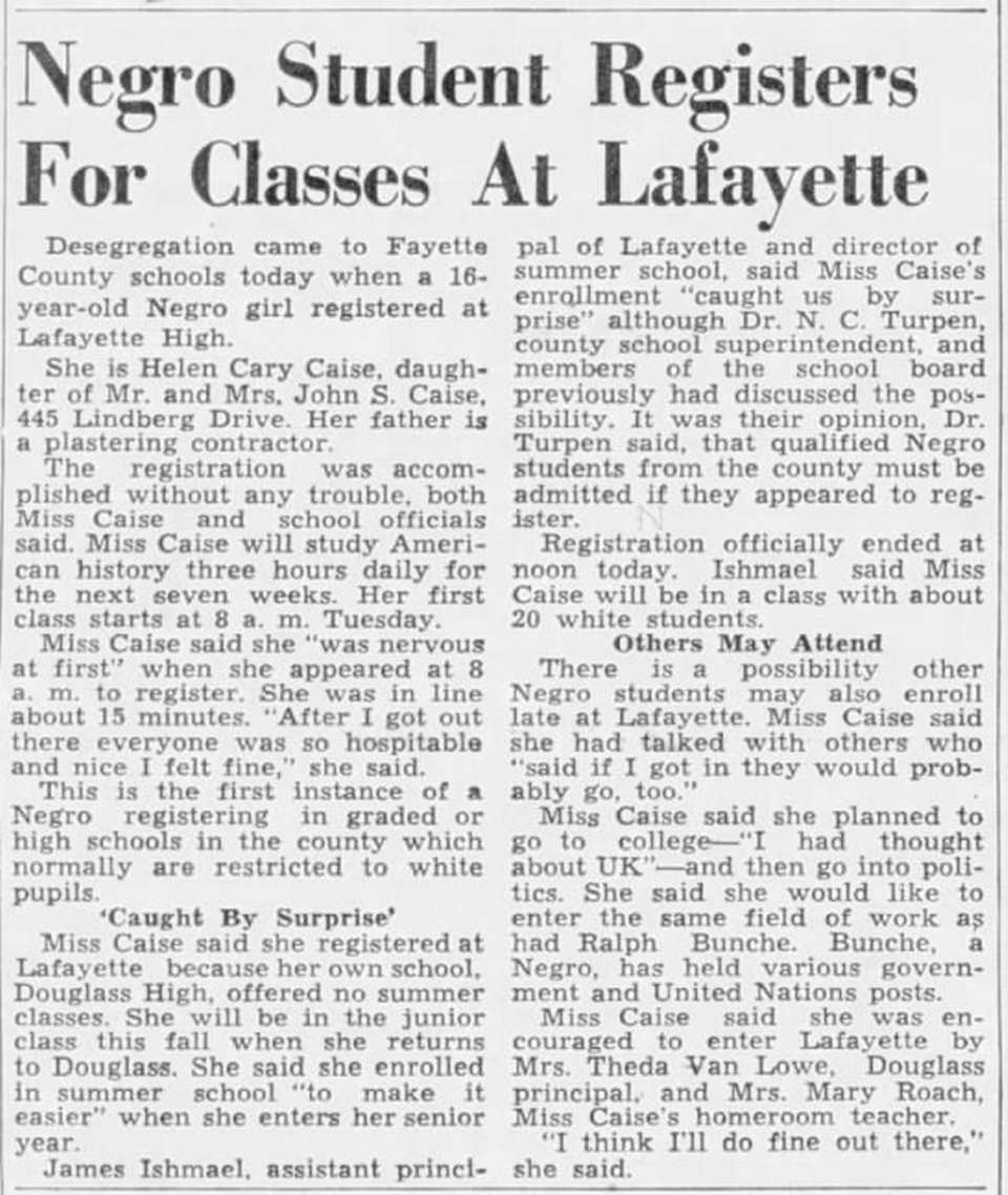 The June 6, 1955 story about Helen Caise integrating Lexington schools.