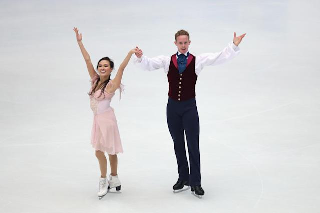 BEIJING, CHINA - NOVEMBER 02: Madison Chock and Evan Bates of United States skate in the Ice Dance Free Dance during Lexus Cup of China ISU Grand Prix of Figure Skating 2013 at Beijing Capital Gymnasium on November 2, 2013 in Beijing, China. (Photo by Feng Li/Getty Images)