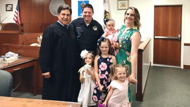 PHOTO: Officer Jesse Whitten and his wife, Ashley Whitten, adopted their child, Harlow Whitten, from a homeless woman that Officer Whitten met while on duty with the Santa Rosa Police Department in Santa Rosa, Calif. (The Whitten Family )