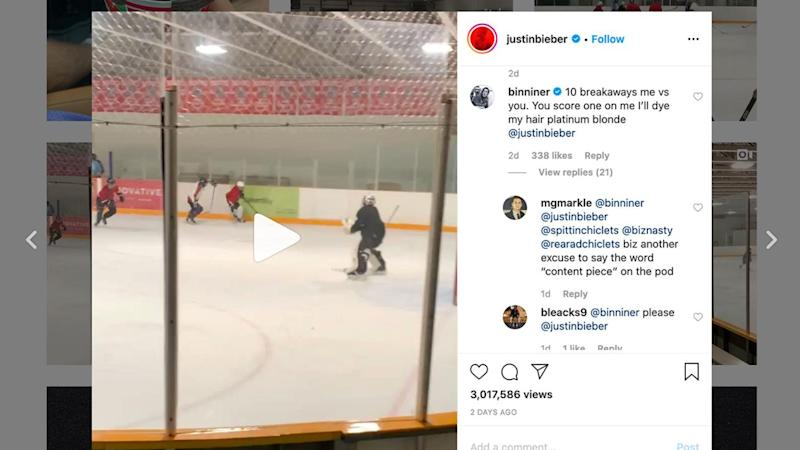 Justin Bieber accepts challenge from Blues goaltender Jordan Binnington for head-to-head shootout