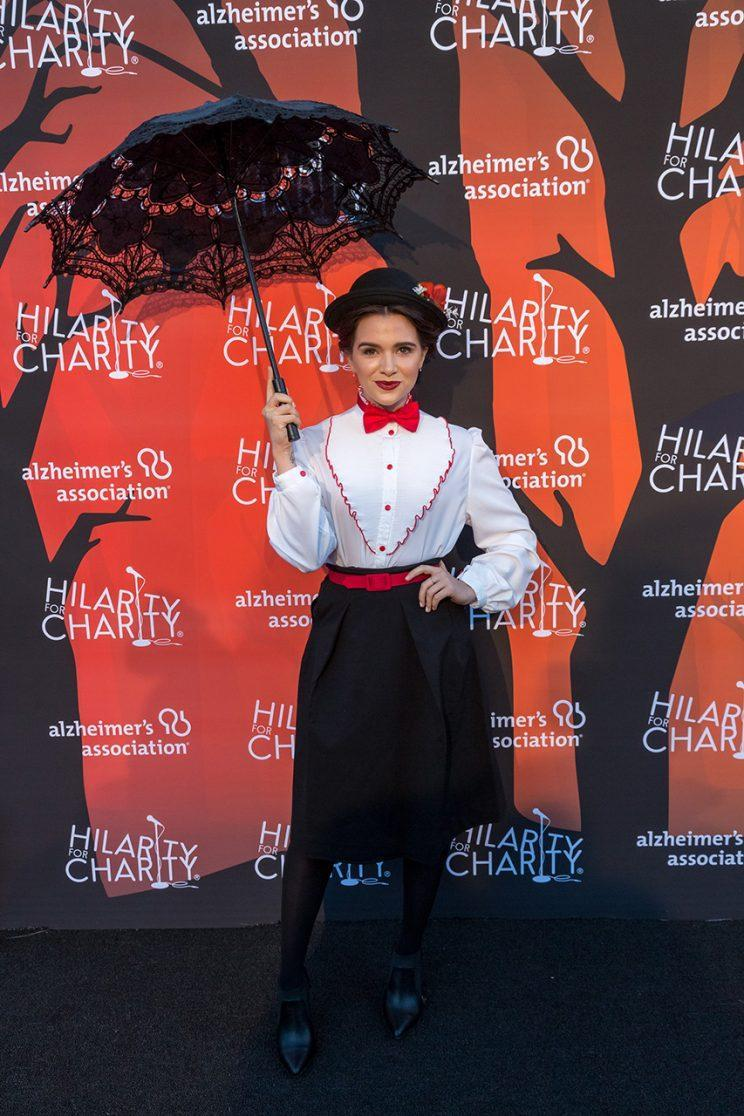 <em>Faking It</em> star Katie Stevens got into the Halloween spirit with her Mary Poppins getup. (Photo: Greg Doherty/Getty Images)
