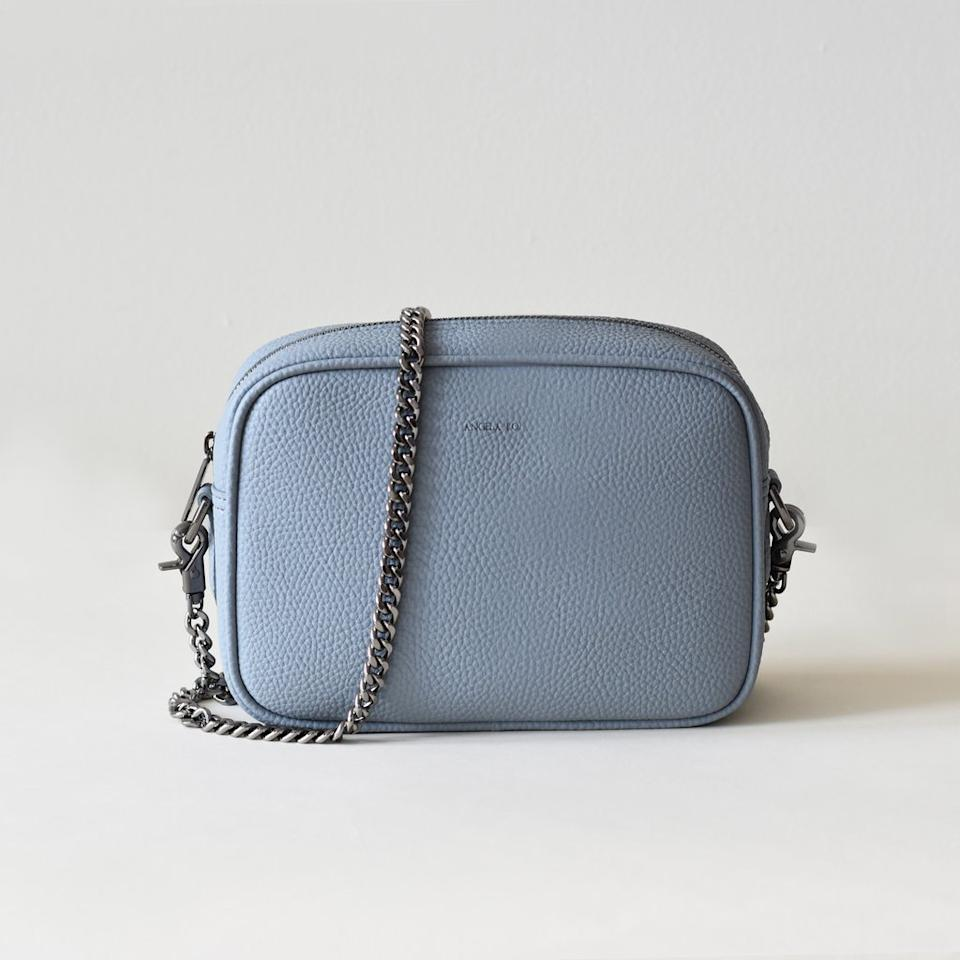 "<p><strong>Angela Roi</strong></p><p>angelaroi.com</p><p><strong>$195.00</strong></p><p><a href=""https://www.angelaroi.com/products/grace-mini-cross-body-light-nude-blue"" target=""_blank"">SHOP IT</a></p><p>I can't say enough great things about Angela Roi. The NYC–based luxury handbag brand prioritizes ethical sourcing and attention to detail. Every time I wear the Grace mini crossbody, shown here, or <a href=""https://www.angelaroi.com/products/hamilton-cross-body-bordeaux"" target=""_blank"">the Hamilton crossbody</a> I get so many compliments—for the color <em>and</em> the quality. <br></p>"