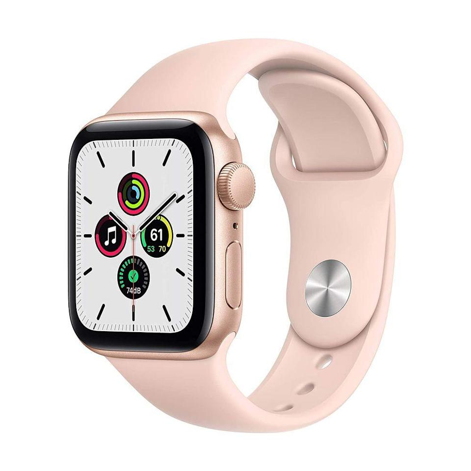 """<p><strong>Apple</strong></p><p>amazon.com</p><p><strong>$259.00</strong></p><p><a href=""""https://www.amazon.com/dp/B08J5ZRFRG?tag=syn-yahoo-20&ascsubtag=%5Bartid%7C2089.g.154%5Bsrc%7Cyahoo-us"""" rel=""""nofollow noopener"""" target=""""_blank"""" data-ylk=""""slk:Shop Now"""" class=""""link rapid-noclick-resp"""">Shop Now</a></p><p>The Apple Watch SE is as effortless and intuitive to use as a smartwatch can be. In addition to fitness-tracking capabilities and a large retina OLED display, Apple watchOS 5 brings a dedicated App Store with thousands of Apple Watch-optimized picks. This all but guarantees that she can take longer breaks from her iPhone.</p>"""