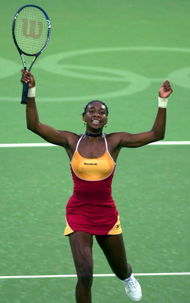 USA's Venus Williams reacts after beating Spain's Arantxa Sanchez-Vicario 3-6, 6-2, 6-4 during their Olympics quarterfinal tennis match in Sydney Sunday, Sept. 24, 2000. (AP Photo/Elise Amendola)
