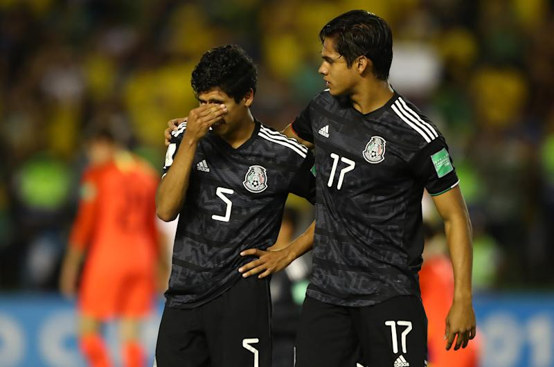 BRASILIA, BRAZIL - NOVEMBER 17: Rafael Martinez of Mexico and Luis Puente of Mexico react at the final whistle during the Final of the FIFA U-17 World Cup Brazil 2019 between Mexico and Brazil at the Estadio Bezerrão on November 17, 2019 in Brasilia, Brazil. (Photo by Martin Rose - FIFA/FIFA via Getty Images)