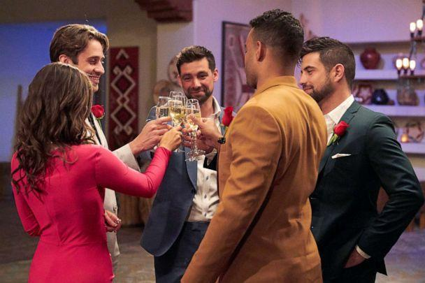 PHOTO: Katie toasts with her final 4 suitors on ABC's 'The Bachelorette.' (Craig Sjodin/ABC)