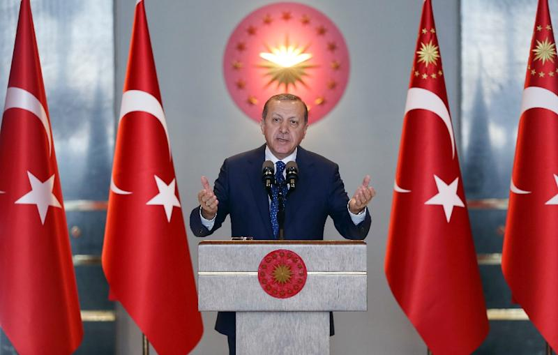 Turkish President Recep Tayyip Erdogan delivers a speech during the 9th Ambassadors Conference at the Presidental Complex in Ankara, on January 9, 2017