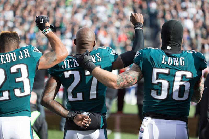 Martellus Bennett applauded Chris Long's efforts in joining the conversation. (Getty)