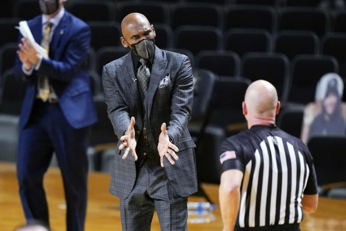 Vanderbilt head coach Jerry Stackhouse argues a call in the first half of an NCAA college basketball game against Mississippi State Saturday, Jan. 9, 2021, in Nashville, Tenn. (AP Photo/Mark Humphrey)