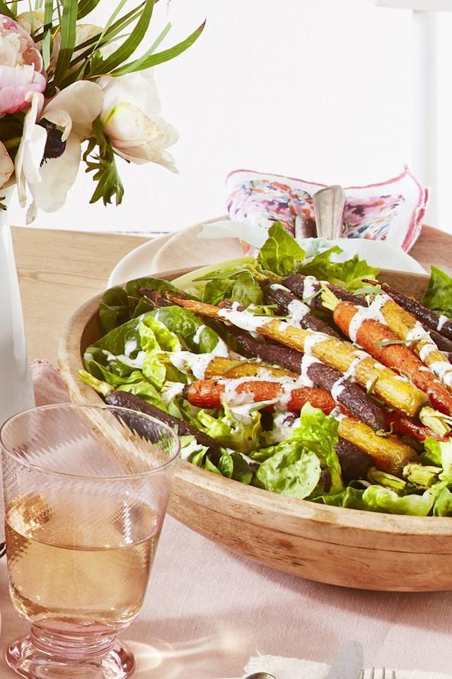 """<p>You can put your own twist on this recipe by choosing between créme fraîche or sour cream to make the dressing. It truly doesn't matter which one you decide on—both are equally delicious.</p><p><strong><a href=""""https://www.countryliving.com/food-drinks/a26784279/green-salad-roasted-carrots-creamy-tarragon-dressing-recipe/"""">Get the recipe.</a></strong></p><p><strong><a class=""""body-btn-link"""" href=""""https://go.redirectingat.com?id=74968X1596630&url=https%3A%2F%2Fwww.walmart.com%2Fip%2FLipper-International-Inc-Acacia-Wave-Large-Wooden-Finish-Salad-Serving-Bowl%2F23209691&sref=http%3A%2F%2Fwww.countryliving.com%2Ffood-drinks%2Fg22546745%2Fvegetarian-thanksgiving%2F"""" target=""""_blank"""">SHOP SALAD BOWLS</a><br></strong></p>"""