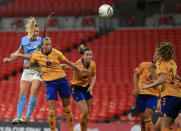 Manchester City's Sam Mewis, left, scores her side's first goal during the Women's FA Cup final soccer match between Everton and Manchester City at Wembley stadium in London, Sunday, Nov. 1, 2020. (Adam Davy/Pool via AP)