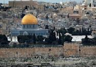 Jerusalem's Old City with the Dome of the Rock at the Al-Aqsa mosque compound