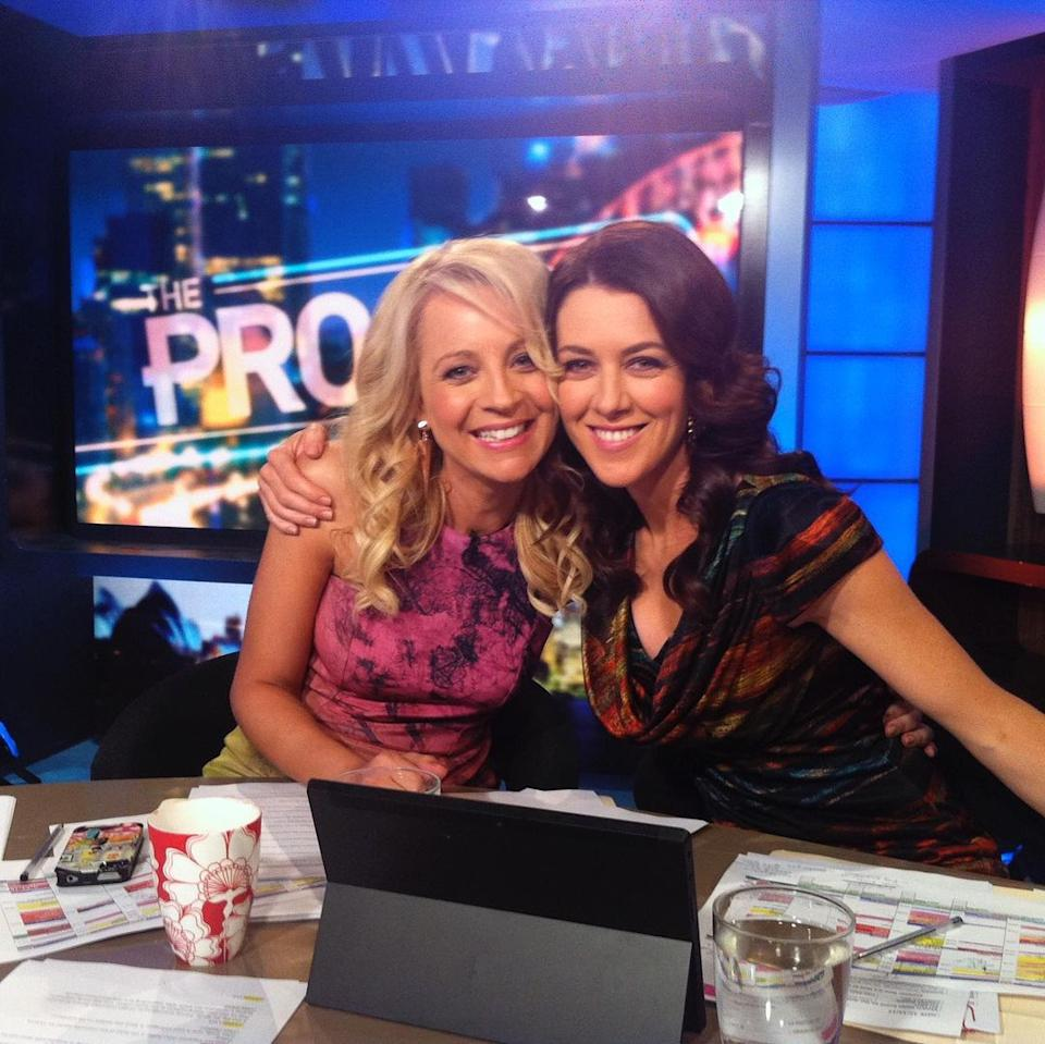 Gorgi Coughlan and Carrie Bickmore on The Project desk