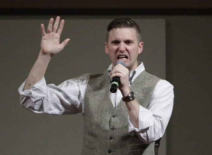 Richard Spencer speaking at Texas A&M earlier this month. (Photo: David J. Phillip/AP)