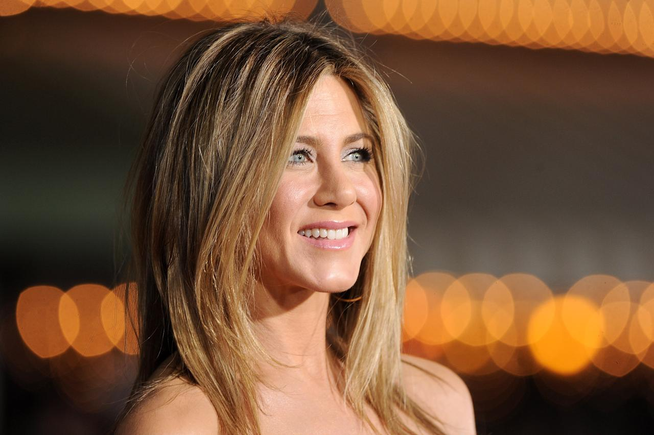 "WESTWOOD, CA - FEBRUARY 16:  Actress Jennifer Aniston arrives at the premiere of Universal Pictures' ""Wanderlust"" held at Mann Village Theatre on February 16, 2012 in Westwood, California.  (Photo by Jason Merritt/Getty Images)"
