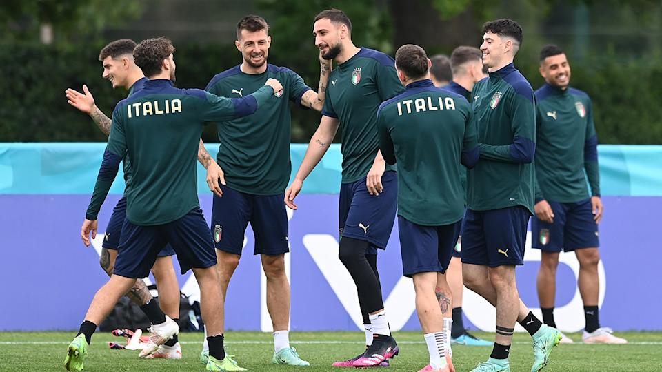Italian players, pictured here on the training paddock ahead of the Euro 2020 final.