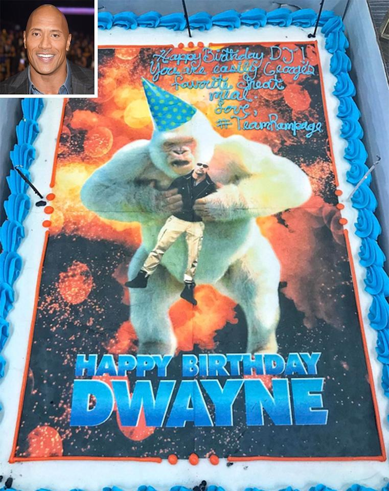 "The actor celebrated his 45th birthday with an appropriately-themed birthday cake: ""Huge THANK YOU to our entire #RAMPAGE crew for presenting this awesome birthday cake to me on set,"" Johnson <a href=""https://www.instagram.com/p/BTprW1Hljg-/"">posted on Instagram</a> of his latest film. ""In the movie, my best friend is a gigantic Albino gorilla, named George. For the record, George holds me with more affection than he is on this cake. I'm a grateful man to have such an amazing and hard working crew puttin' in work ... and makin' birthday dope cakes."""