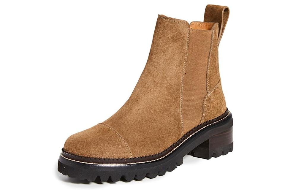 brown boots, suede, see by chloe