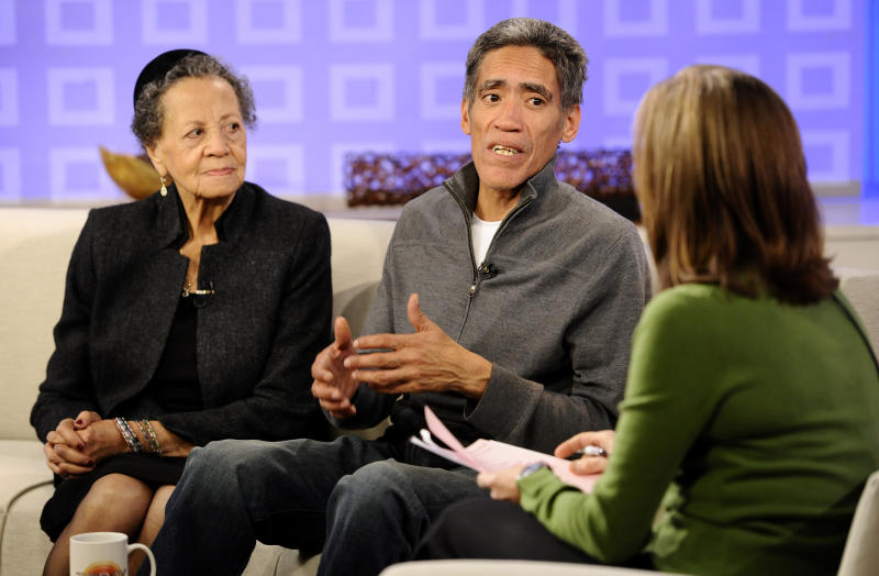 "In this photo provided by NBC Universal, Ted Williams, center, and his mother Julia Williams talk with ""Today"" show co-host Meredith Vieira on NBC's ""Today"" show in New York, on Friday, Jan. 7, 2011. Williams, a homeless man whose silky announcing voice has catapulted him to national fame reunited Thursday with his mother, recorded a commercial for Kraft Macaroni & Cheese and agreed to do voiceover work for MSNBC. (AP Photo/NBC, Peter Kramer) NO SALES"