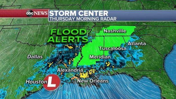 PHOTO: Tracking the storm through Thursday morning weather map. ( ABC News)