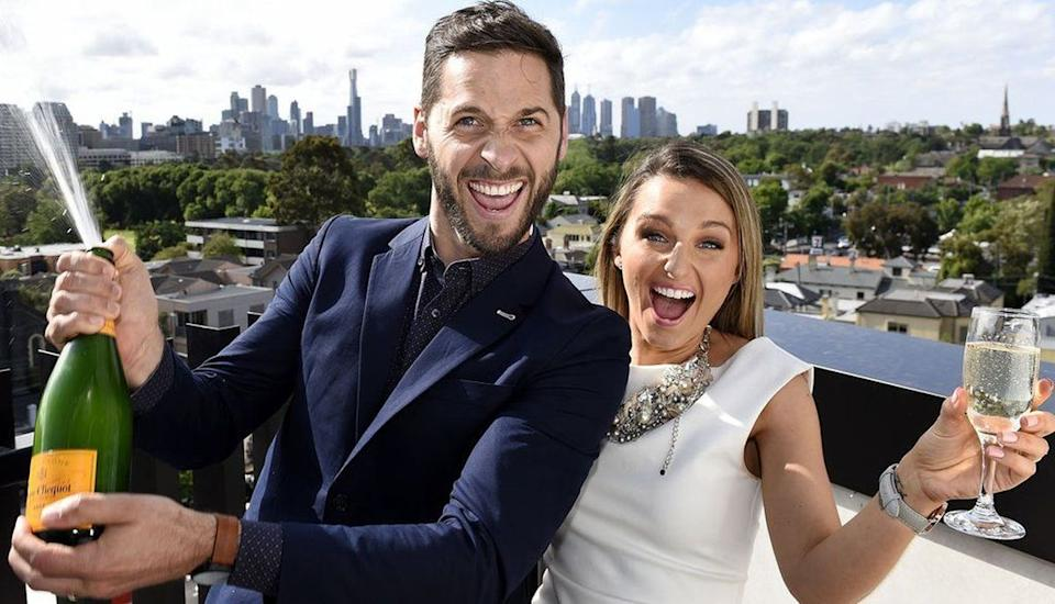 Dean and Shay celebrate winning the Blocktagon with their penthouse apartment. Photo: Nine Network