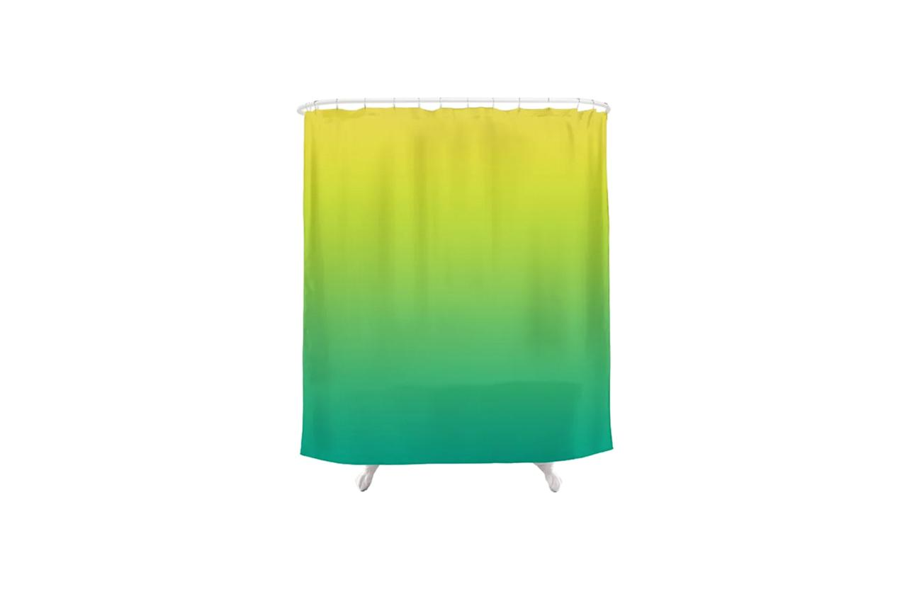 """$70, Society6. <a href=""""https://society6.com/product/meadowlark-lime-punch-arcadia-blurred-minimal-gradient_shower-curtain?sku=s6-8540302p34a35v287"""">Get it now!</a>"""