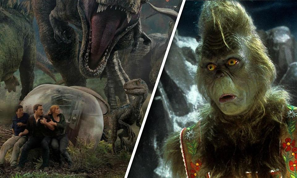 Jurassic World: Fallen Kingdom holds the top spot as The Grinch reenters the chart
