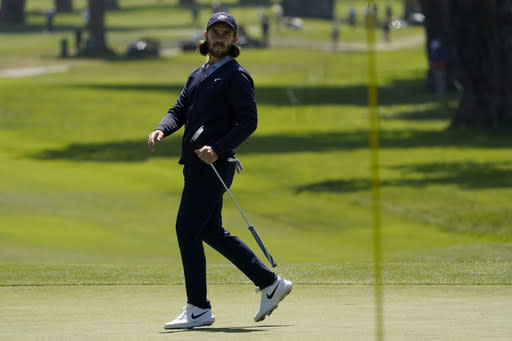 Tom Fleetwood of England, reacts after missing a putt on the sixth hole during the second round of the PGA Championship golf tournament at TPC Harding Park Friday, Aug. 7, 2020, in San Francisco. (AP Photo/Jeff Chiu)
