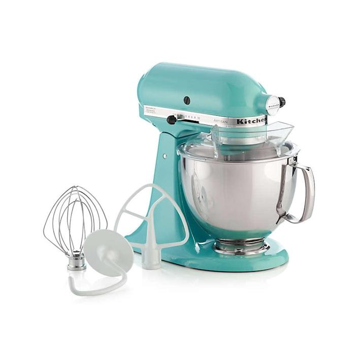 """The KitchenAid Pro Mixer is definitely a splurge, but it's <em>so</em> worth it. These mixers are heavy-duty countertop eye candy, and come in just about every lovely shade of the rainbow. $380, Crate & Barrel. <a href=""""https://www.crateandbarrel.com/kitchenaid-artisan-aqua-sky-stand-mixer/s631493"""" rel=""""nofollow noopener"""" target=""""_blank"""" data-ylk=""""slk:Get it now!"""" class=""""link rapid-noclick-resp"""">Get it now!</a>"""