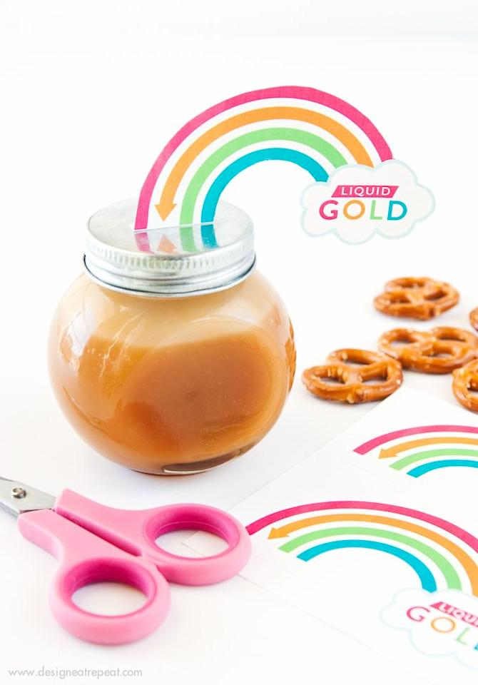 """<p>A sweet activity for a small group of kids. Help them whip up a batch of microwave salted caramel sauce, then let each child decorate their very own pot of gold. </p><p><a class=""""body-btn-link"""" href=""""https://www.designeatrepeat.com/diy-pot-of-gold-caramel-jars-free-rainbow-printables/"""" target=""""_blank"""">GET THE TUTORIAL</a></p><p><a class=""""body-btn-link"""" href=""""https://www.amazon.com/KAMOTA-Regular-Magnetic-Whiteboard-Included/dp/B07N3ZTX9D/?tag=syn-yahoo-20&ascsubtag=%5Bartid%7C10072.g.30811401%5Bsrc%7Cyahoo-us"""" target=""""_blank"""">SHOP JARS</a></p>"""