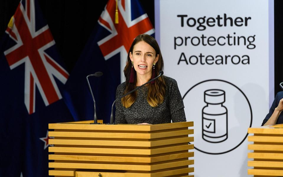 Jacina Ardern, New Zealand's prime minister, announcing the trans-Tasman bubble earlier today - MARK COOTE/BLOOMBERG