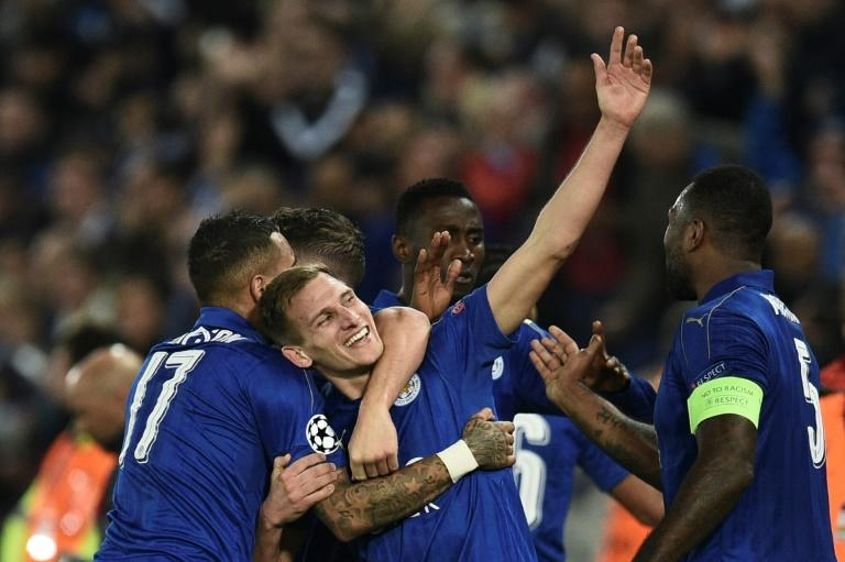 Leicester City's Marc Albrighton celebrates his goal during the Champions League round of 16 clash against Sevilla on March 14, 2017