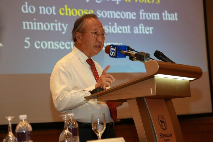 Tan Cheng Bock at a press conference.