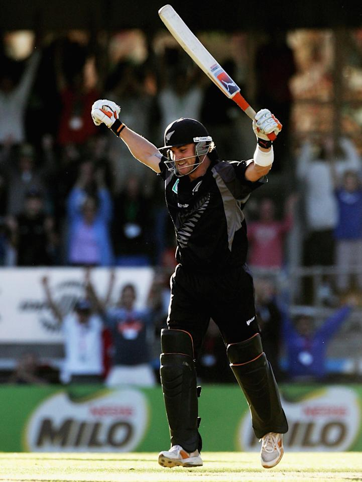 AUCKLAND, NEW ZEALAND - FEBRUARY 18:  Brendon McCullum of New Zealand celebrates hitting the winning run to win the series during the second one-day international match of the Chappell-Hadlee Trophy series between New Zealand and Australia at Eden Park on February 18, 2007 in Auckland, New Zealand.  (Photo by Phil Walter/Getty Images)
