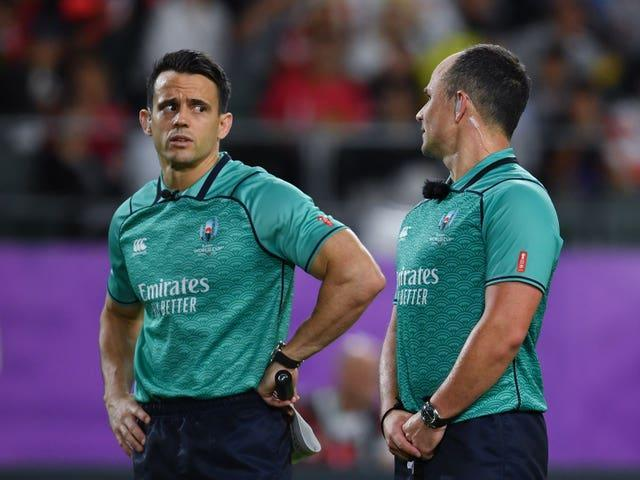 Referee Nic Berry (left) has had his performance in Saturday's first Test pulled apart by Rassie Erasmus