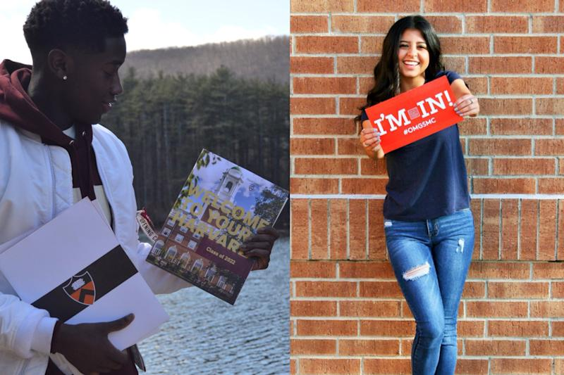 teens pose with college acceptance letters on social media