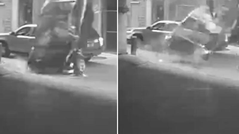 Police in Texas have released surveillance video showing a car plunging seven stories from a downtown parking garage and striking another vehicle as it lands in an alley. Photo: LiveLeak