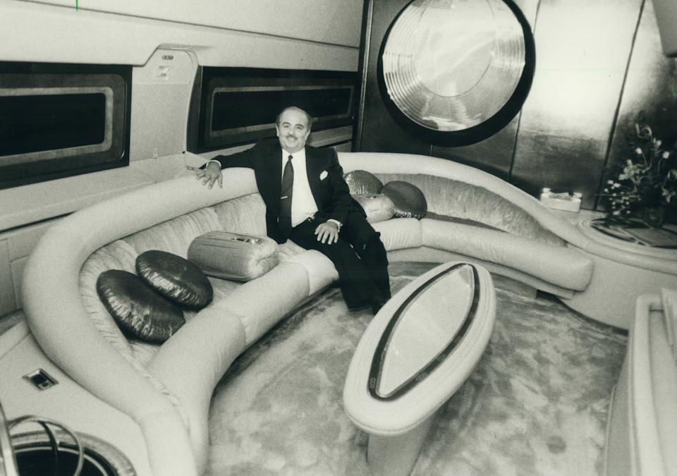 Adnan Khashoggi in one of his private planes in 1984. (Colin McConnell/Toronto Star via Getty Images)