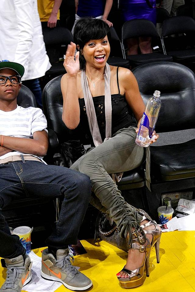 "Taraji P. Henson quenches her thirst for Lakers basketball. Noel Vasquez/<a href=""http://www.gettyimages.com/"" target=""new"">GettyImages.com</a> - May 27, 2009"