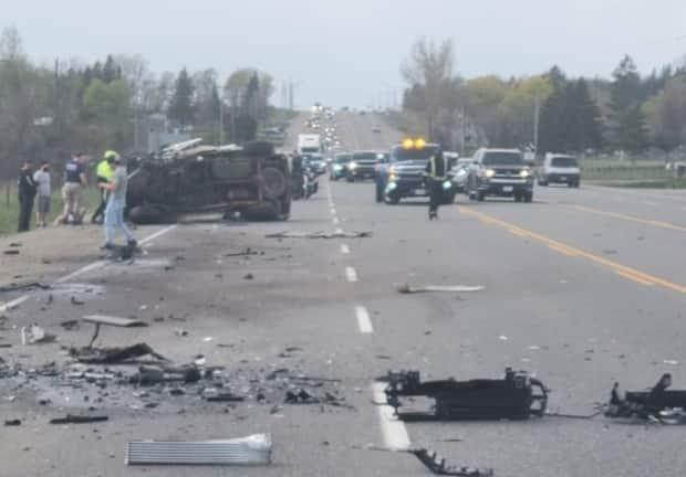 Ontario Provincial Police say one person died in this crash involving three vehicles in Caledon on Sunday afternoon. (Ontario Provincial Police/Twitter - image credit)