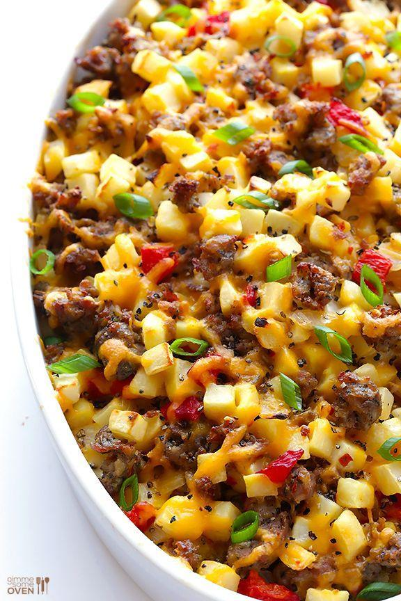 """<p>Easy is good. Cheesy is better.</p><p>Get the recipe from <a href=""""http://www.gimmesomeoven.com/easy-cheesy-breakfast-casserole-recipe/"""" rel=""""nofollow noopener"""" target=""""_blank"""" data-ylk=""""slk:Gimme Some Oven"""" class=""""link rapid-noclick-resp"""">Gimme Some Oven</a>.</p>"""