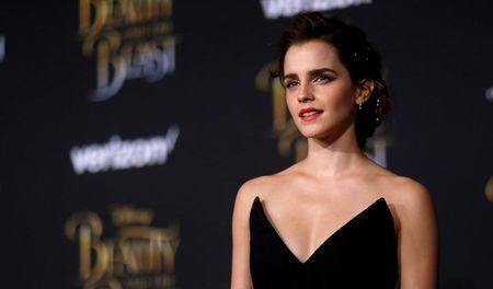 """FILE PHOTO: Cast member Watson poses at the premiere of """"Beauty and the Beast"""" in Los Angeles"""
