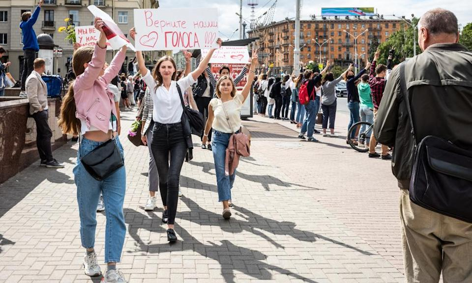 Women in Minsk demonstrating after Lukashenko claimed election victory.